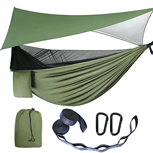 Camping Hammock - Hammocks with Mosquito Net Tent and Rain Fly Tarp, Portable Single & Double Nylon Parachute Hammock with Heavy Duty Tree Strap, Indoor Outdoor Backpacking Survival Travel