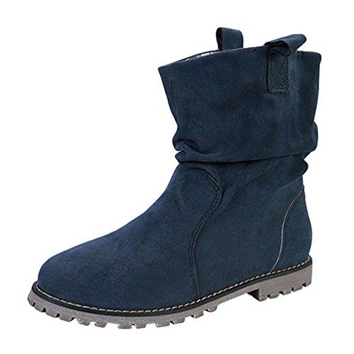 Anguang Damen Stiefeletten Stiefel Winter Warm Gefüttert Schlupfstiefel Boots Schuhe Blau (Dicke Baumwolle) 40