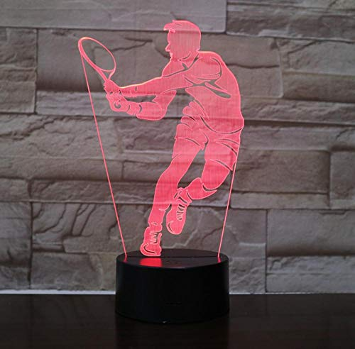 Illuminating Kids Lamp Tennis Player 3D Optical Illusion Night Light for Boys Boys Toys Gifts for Xmas Birthday Holiday Children