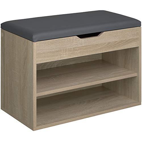 TecTake 800843 Sitzbank mit Schuhregal, BxHxT: 60x43,5x30 cm, Holz Schuhbank Kommode mit Stauraum unter der Sitzfläche, 2 offene Fächer (Holz hell)