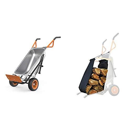 WORX Aerocart 8-in-1 Wheelbarrow / Yard Cart / Dolly & WA0232 Aerocart Wheelbarrow Firewood Carrier, Orange