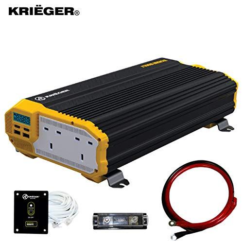 K KRIËGER 2000 Watts Power Inverter 12V to 230V, Modified Sine Wave Car Inverter, Dual 230 Volts...