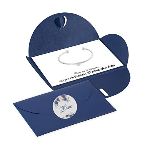 Lillyville - Bräutigam Mutter Geschenk mit Herz Armreif Silber und Karte - Heute Bräutigam, für Immer Dein Sohn - Hochzeit Armreif - Umschlag Dunkelblau
