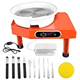 SEAAN Electric Pottery Wheel Machine 25CM Pottery Throwing Ceramic Machine LCD Touch Ceramic DIY Clay Tool for Ceramic Work Art Clay with 10 Pcs Clay Sculpting Tools, Foot Pedal, US Shipping