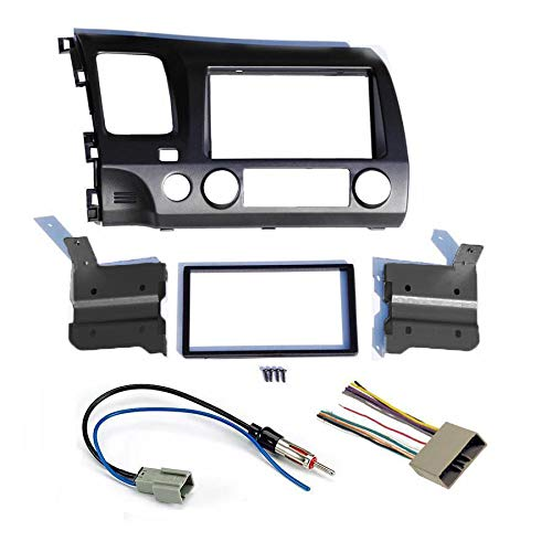 Dark Grey Aftermarket Radio Stereo Double Din Install/Installation Dash Kit with Wiring Harness and Antenna Adapter Fits Honda Civic 2006 2007 2008 2009 2010 2011