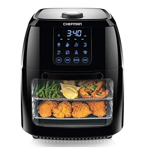 Chefman 6 Liter Digital Air Fryer and Rotisserie, Dehydrator, Convection Oven, 8 Presets, BPA-Free, Auto Shut-Off, Accessories Included, XL Family Size, Black (Renewed)