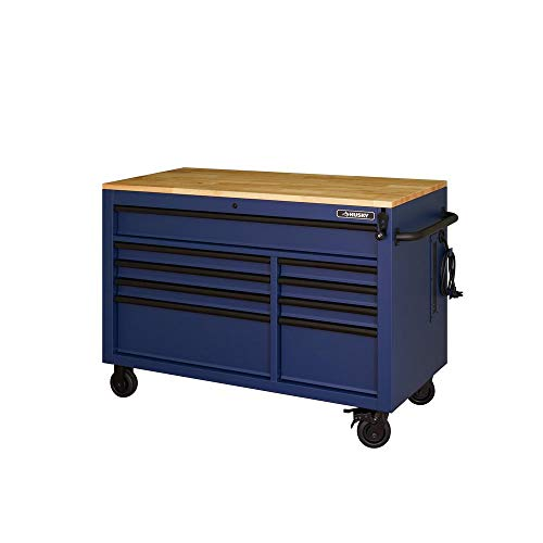 Husky Professional 52 in. 9-Drawer Mobile Workbench with Adjustable-Height Solid Wood Top in Matte Blue, HOLC5209BL1M