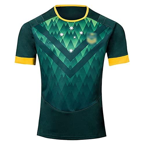 Speed-SY Camiseta De Rugby 2019, Camiseta De Manga Corta del Equipo De Australia De Rugby De La Copa del Mundo De Sevens Traje De Entrenamiento Deportivo De Secado Rápido