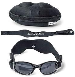 professional Tuga Baby / Toddler UV 400 sunglasses, 2 straps and case, black