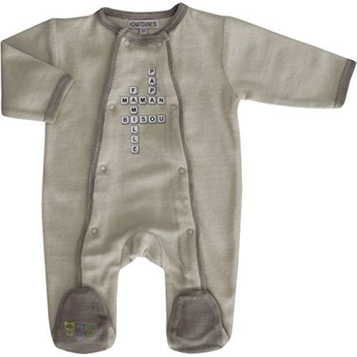 Les Chatounets pyjama Mots 01M - Taupe