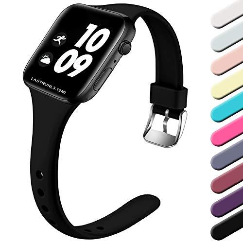 Wepro Kompatibel für Apple Watch Armband 38mm 40mm 42mm 44mm, Schlank Dünnes Weiches Silikon Ersatzarmband mit Klassischer Schnalle für Apple Watch Series 5/4/3/2/1 S/M, Schwarz