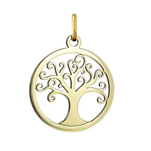 Medaglia di albero della vita, traforata, in oro 18 carati, altezza: 20 mm