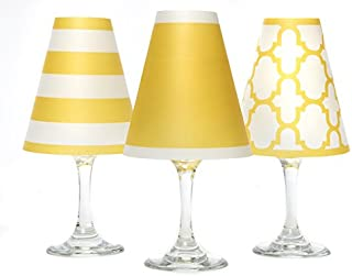 di Potter WS189 Nantucket Paper White Wine Glass Shade, Vibrant Yellow (Pack of 6)