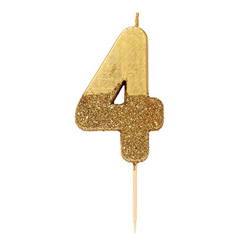 Talking Tables Bday GLD-4 We Heart Birthdays Glitter Number Candle 4, Gold, Papel