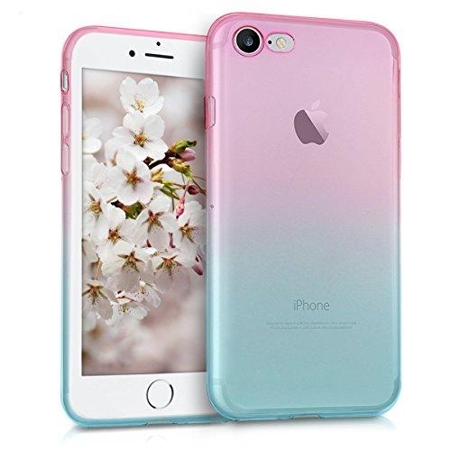kwmobile Funda Protectora Compatible con Apple iPhone 7/8 / SE (2020) - Carcasa Bicolor Rosa Fucsia/Azul/Transparente