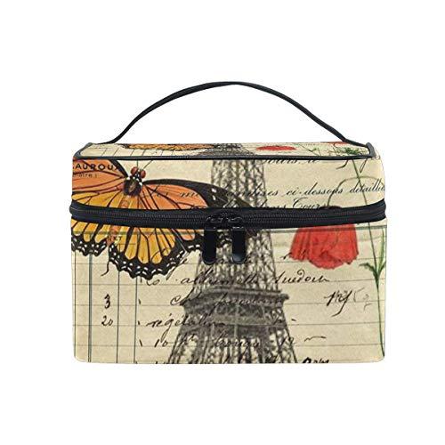 Neceser de Maquillaje Vintage con diseño de Mariposas y Amapolas, Torre Eiffel, Bolsa de Aseo portátil, Grande, para Mujer