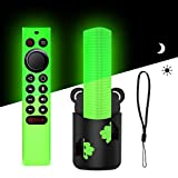 TOLUOHU Silicone Case for NVIDIA Shield TV Pro/4K HDR TV Remote Controller with Hand Strap, Anti-Slip Light Weight Kids-Friendly Glow Green Protective Remote Cover and Free-Punch Remote Holder Set