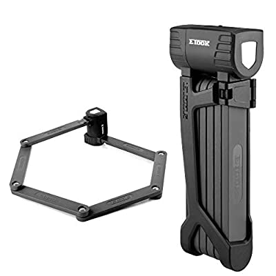 Bike Lock Made Steel Alloy Folding Bicycle Lock Anti-Sawing Anti-Drilling with Mount Bracket (Black)