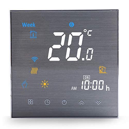 Termostato Wifi per Caldaia a Gas/Acqua-Termostato Smart Programmabile con Compatibile Alexa Echo Google Home,Termostato Digitale Touch Screen Senza fili 3A Struttura in Metallo Spazzolato