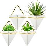 4 Jardinière Murale Triangle Vase Murale Géométrique Blanc Plantes Suspendues Murales à Cadre Doré Pots à Plantes Succulentes en Céramique Conteneurs de Fausses Plantes Cactus pour Maison Bureau