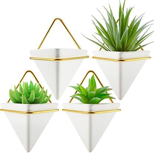 4 Jardineras de Pared Tiangular Jarrones de Pared Geométricos Blancos Maceta de Plantas de Aire Suculenta de Cerámica Marco Dorado de Plantas Cactus Colgantes de Pared para Decoración Interior Moderna