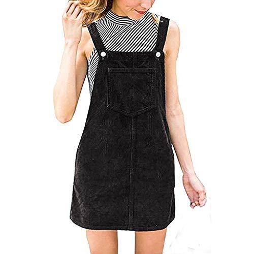Beikoard Damen Latzkleid Lässiges Taschenkleid Corduroy - Suspender - Mini-Latzhose mit Gesamteinlage Rock Etuikleid