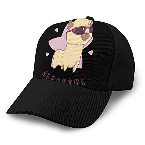 Hongyan Baseballkappe Alpacool Alpaca Dad Hat Verstellbar Atmungsaktiv für Männer Frauen Snapback Trucker Cap Schwarz