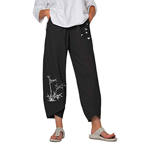 Bombacho para Mujer Estampado Bambú Pantalones Lino de Yoga para Mujer Color Sólido Boyfriend Pantalón Boho Harén para Mujer Talla Grande (Negro, 3XL)