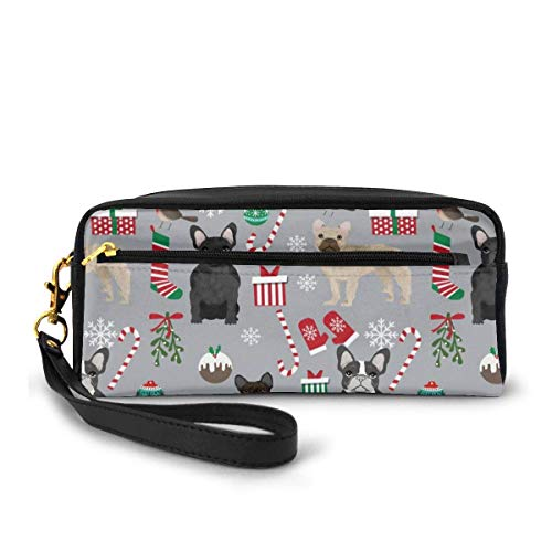 Yuanmeiju Rfrenchie Xmas Small Makeup Bags Purse PU Leather Travel Cosmetic Pouch Simple Pencil Pouches