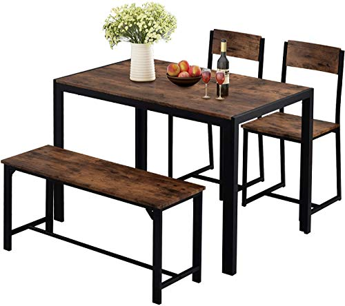 Dining Table and Chairs, Bench Set Industrial Style Retro Kitchen Dining Table Set with 2 High Back Chair and 1 Bench for Living Room, Dining Room, Kitchen, (Rustic Brown, 2 Chair and 1 Bench)