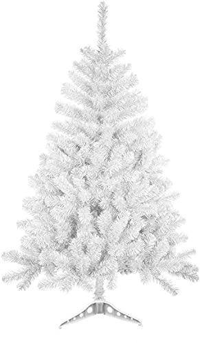 MAXIMN rbol de Navidad Blanco Artificial Abeto de Hoja Blanco de Espumillón. 120CM