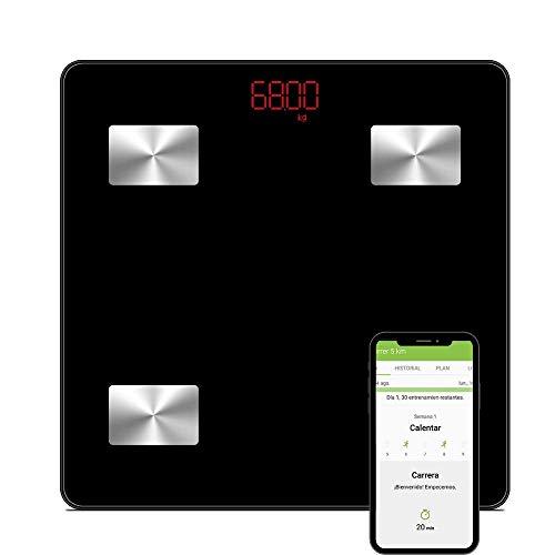 NK Báscula Baño Inteligente - Bluetooth V4.0, Digital, Frecuencia Dual, Peso Baño, Tecnología BIA, Pantalla LCD, Batería 3*AAA, Medidor Grasa Corporal Muscular, BMI/BMR, Edad Metabólica