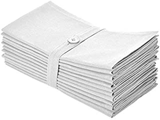 COTTON CRAFT Napkins - 12 Pack Oversized Dinner Napkins 20x20 White - 100% Cotton - Tailored with Mitered Corners and a Generous Hem - Napkins are 38% Larger Than Standard Size Napkins'