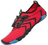 SAGUARO Badeschuhe Damen Wasserschuhe Schwimmschuhe Aquaschuhe Surfschuhe Barfuß rutschfeste Strandschuhe Wassersport Schuhe,Stil 1:Rot 41 EU