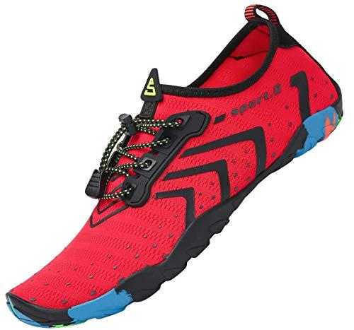 Zapatos de Agua Mujer Hombre Zapatillas para Surf Elástico Calzado Natacion Kayak Escarpines Piscina Rojo 42 EU