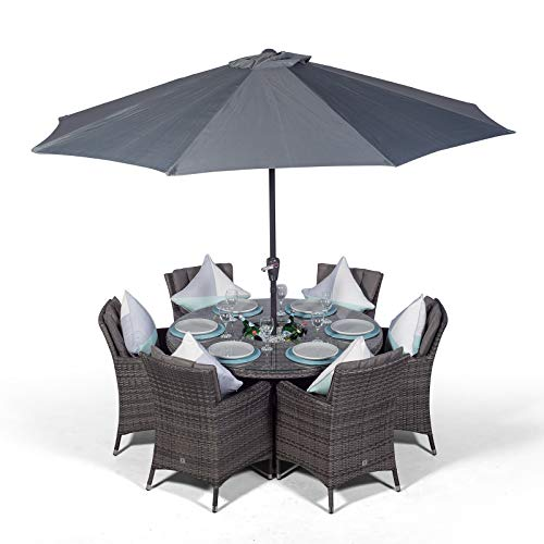 Savannah 6 Seater Grey Rattan Dining Table & Chairs with Ice Bucket Drinks Cooler | Outdoor Poly Rattan Garden Dining Set with Parasol & Cover