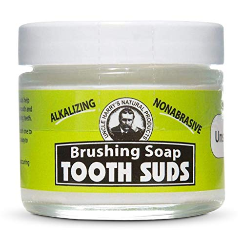 Uncle Harry's Non-Abrasive Unscented Brushing Soap Tooth Suds   Natural Remineralizing Toothpaste Freshens Breath & Promotes Enamel   Vegan Fluoride Free Toothpaste Organic (2 oz)