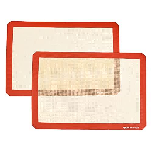 AmazonCommercial - Tappetino da forno per eclair, in silicone, set da 2, 39,9 x 30 cm
