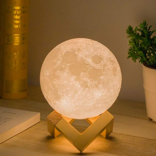 Mydethun Moon Lamp Moon Light Night Light for Kids Gift for Women USB Charging and Touch Control Brightness Warm and Cool White Lunar Lamp (4.7 inch)