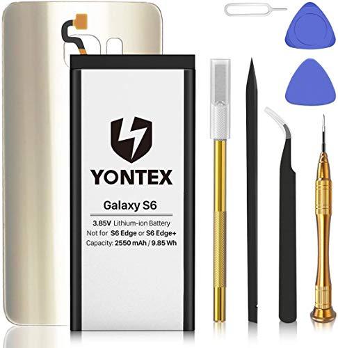 YONTEX Galaxy S6 Ersatz Akku mit Akkudeckel und Reparaturset mit Werkzeug, 2550mAh EB-BG920ABE Ersatzakku 0 Zyklus Batterie für Samsung Galaxy S6 (Gold)