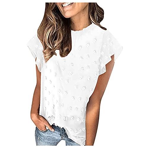 Blusa de gasa para mujer, de verano, informal, cuello redondo, manga corta, con pompones, holgada, camiseta larga, camisa para mujer, camiseta de manga corta Blanco L