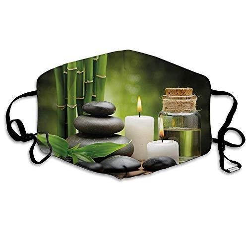 Heiße Massagefelsen kombiniert mit Kerzen und Düften Landschaft von Grün Weiß und Schwarz Erwachsener staubdichter winddichter Schal für wiederholten Gebrauch bequem tragen