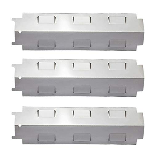YIHAM KS734 Gas Grill Stainless Steel Heat Plate Shield Tent, Burner Cover Flame Tamer, BBQ Replacement Parts for Charbroil, Brinkmann, Kenmore, Master Forge, 14 5/8 inch x 4 1/4 inch, Set of 3