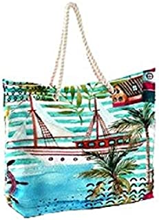 Beach Tote Bag, Hand Bag, Shoulder Bag Canvas Shopping Totes with Cotton Rope Handle - 45 x 45 cm