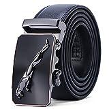 Men's Belt Jaguar Genuine Leather Ratchet Dress Belt With Automatic Buckle, 1.5'' (35mm) Wide, Enclosed in an Elegant Gift Box, Waist size 34'-36',belt 43'(110cm)