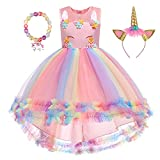 TOTODO Unicorn Dress for Girls Rainbow Flower Princess Dress Up Party Outfit with Head Band Bracelet