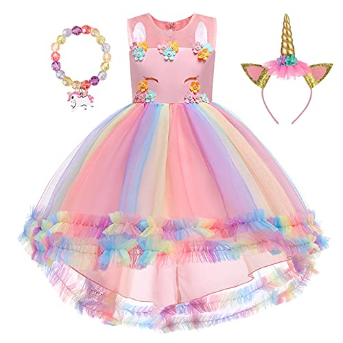 Unicorn Dress for Girls Rainbow Flower Princess Dress Up Party Outfit with Head Band Bracelet