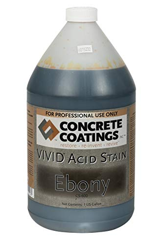CC Concrete Coatings Vivid Acid Stain for Antique Marble Effect, Concrete Stain for Inside or Outside, Commercial or Residential Use (Ebony, Almost Black, 1 Gal)
