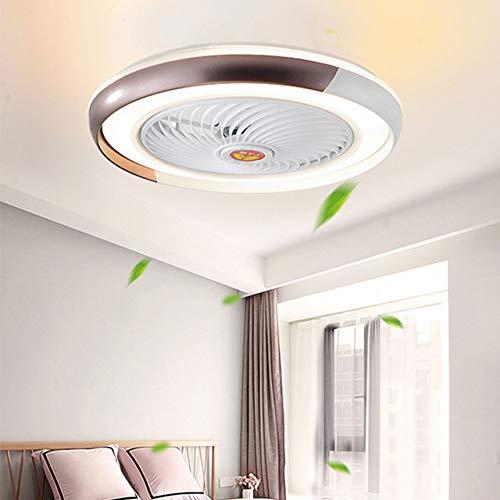 LED Plafondventilator Met Verlichting En Afstandsbediening Stille Plafondlamp Dimbaar Met Afstandsbediening 3 Standen Verstelbaar Moderne Slaapkamer Onzichtbare Kinderkamer Ventilator,Brown