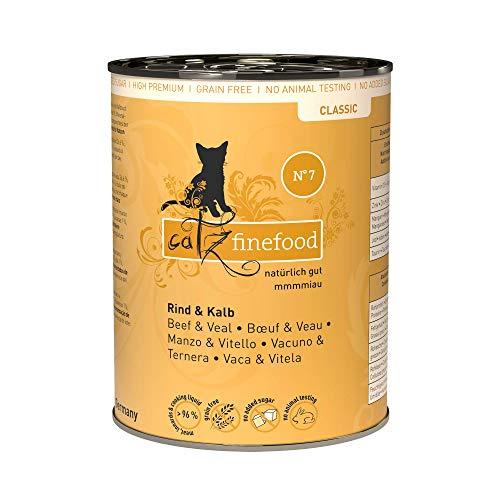 catz finefood N° 7 Rind & Kalb Feinkost Katzenfutter nass, verfeinert mit Aprikose & Ananas, 6 x 400g Dosen
